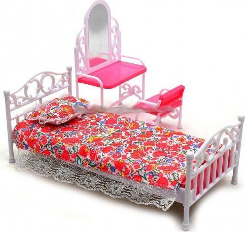 EduCORE Sypialnia łóżko toaletka krzesło lustro meble dla lalki Barbie 1