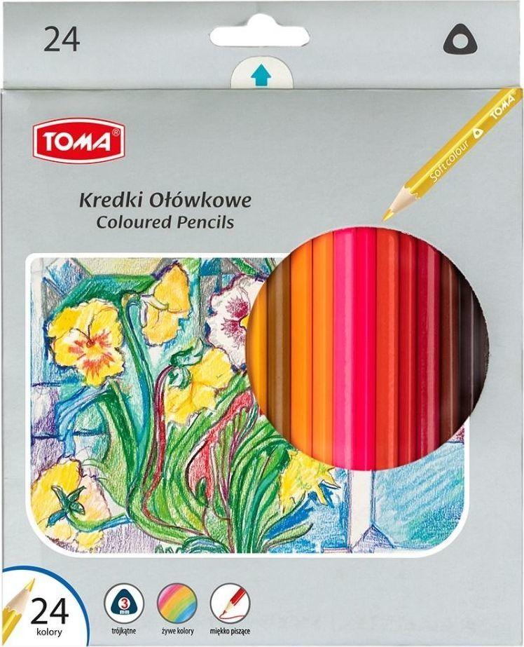 Toma Kredki ołówkowe trójkątne 24 kolory (382837) 1