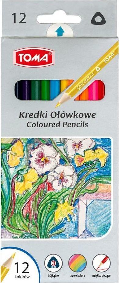 Toma Kredki ołówkowe trójkątne 12 kolorów (382833) 1