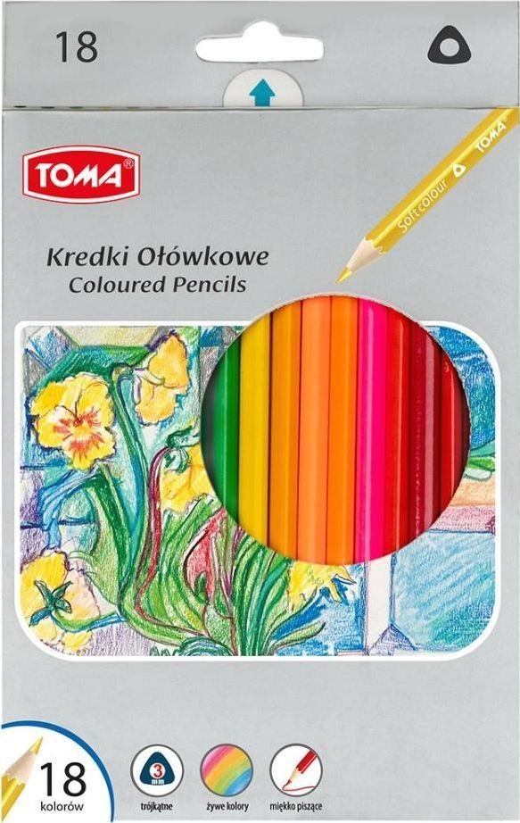 Toma Kredki ołówkowe trójkątne 18 kolorów (382835) 1