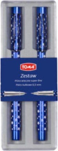 Toma Zestaw pióro kulkowe + wieczne w gwiazdki TOMA 1