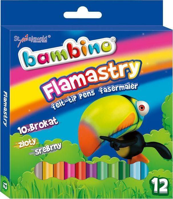 Bambino BAMBINO Flamastry Brokatowe 10x + złoty/srebrny 1