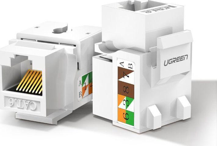 Ugreen Ugreen Gniazdo Samozaciskowe Keystone Ethernet Cat 5E 8P8C Rj45 100 Mbps 568A/b Biały (80176 Nw142) 1
