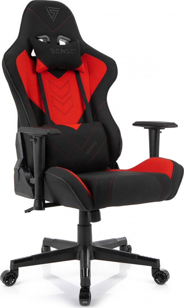 Fotel SENSE7 materiałowy Vizard czarno-czerwony 1