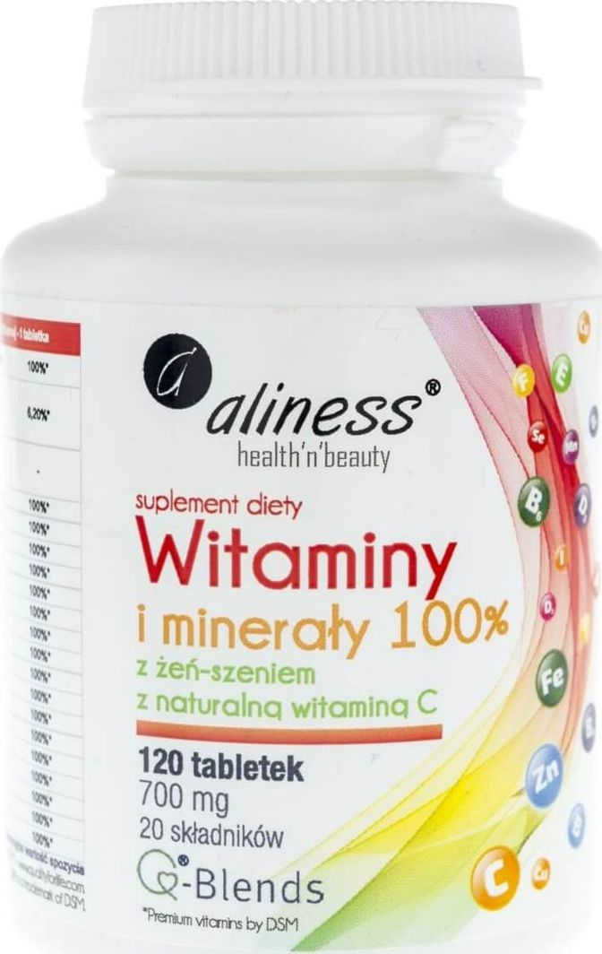 Aliness Aliness Witaminy i minerały 100% 700 mg - 120 tabletek 1
