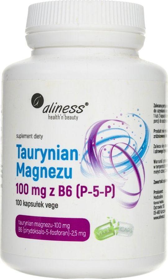 Aliness Aliness Taurynian Magnezu 100 mg z B6 (P-5-P) - 100 kapsułek 1