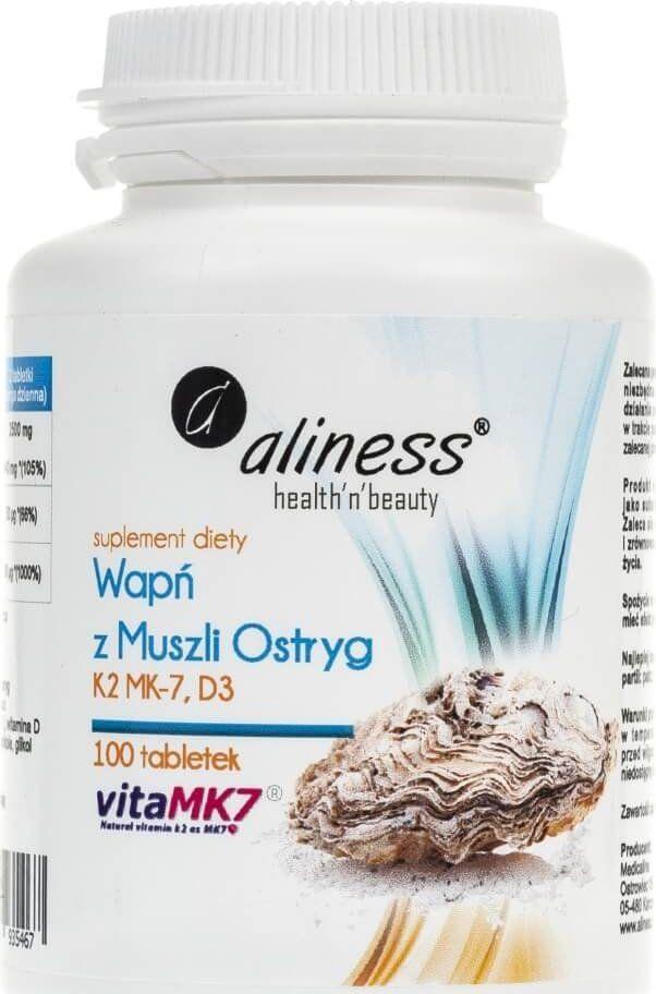 Aliness Aliness Wapń z muszli ostryg z witaminą K2 MK-7 i D3 - 100 tabletek 1