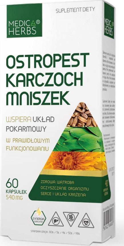 Medica Herbs Medica Herbs Ostropest Karczoch Mniszek 540 mg - 60 kapsułek 1