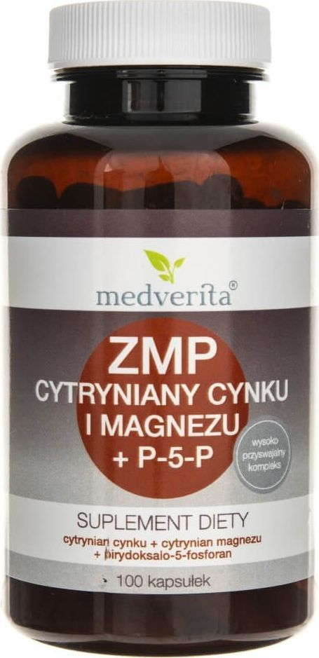 MEDVERITA Medverita ZMP Cytryniany Cynku i Magnezu + P-5-P - 100 kapsułek 1