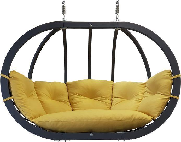 Koala Fotel hamakowy drewniany podwójny, musztardowy Swing Chair Double antracyt 1