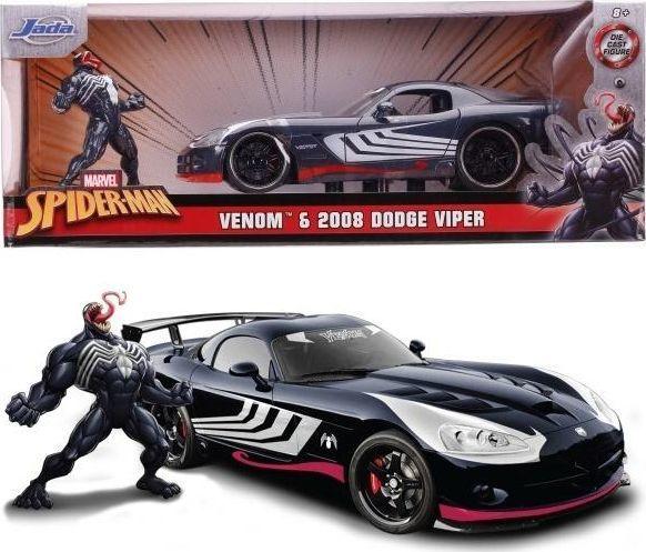 Dickie Pojazd i Figurka Marvel Venom 2008 Dodge Viper 1:24 czarny 1