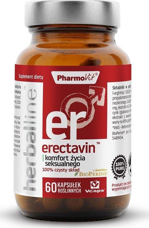 Pharmovit Erectavin Herballine 60 Kaps. Pharmovit Komfort Życia Seksualnego Pieprz Czarny Bioperine Buzdyganek Cynk 1