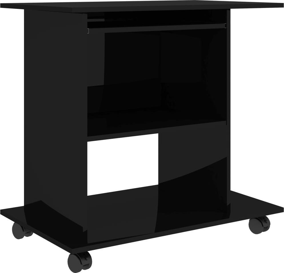 Biurko vidaXL na kółkach o wysokim połysku 80x50x75 1