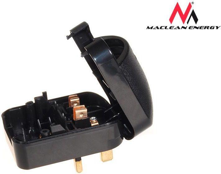 Maclean Adapter zasilania UK na Euro kątowy czarny (MCE70) 1