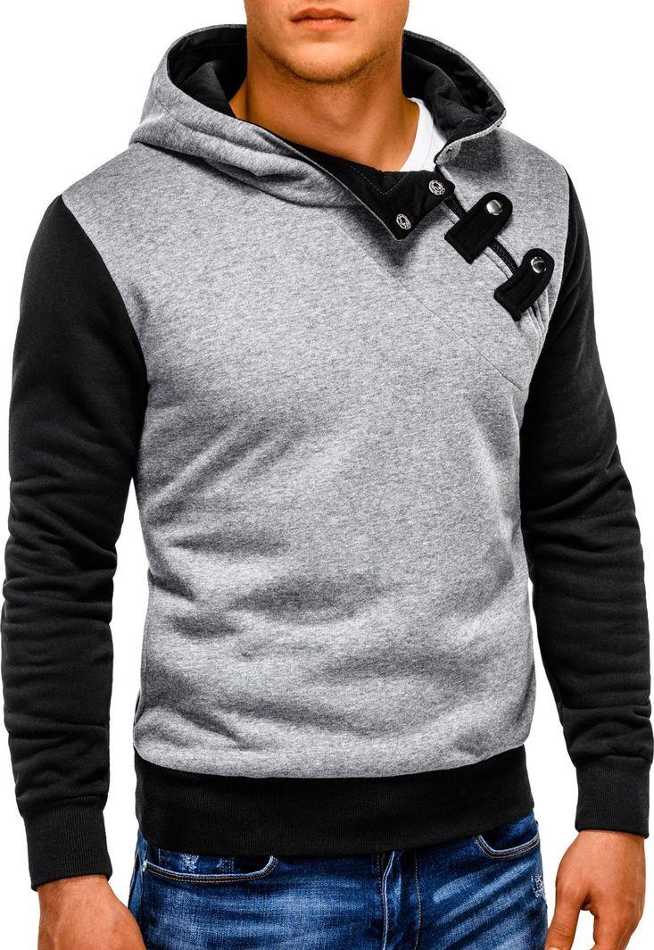 Ombre Bluza męska z kapturem PACO - grafitowa/czarna XL 1