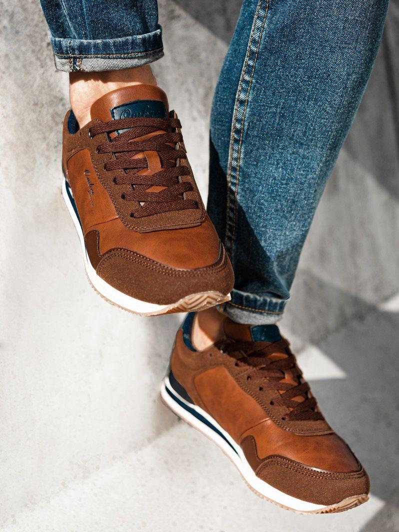 Ombre Buty męskie sneakersy T332 - brązowe 40 1