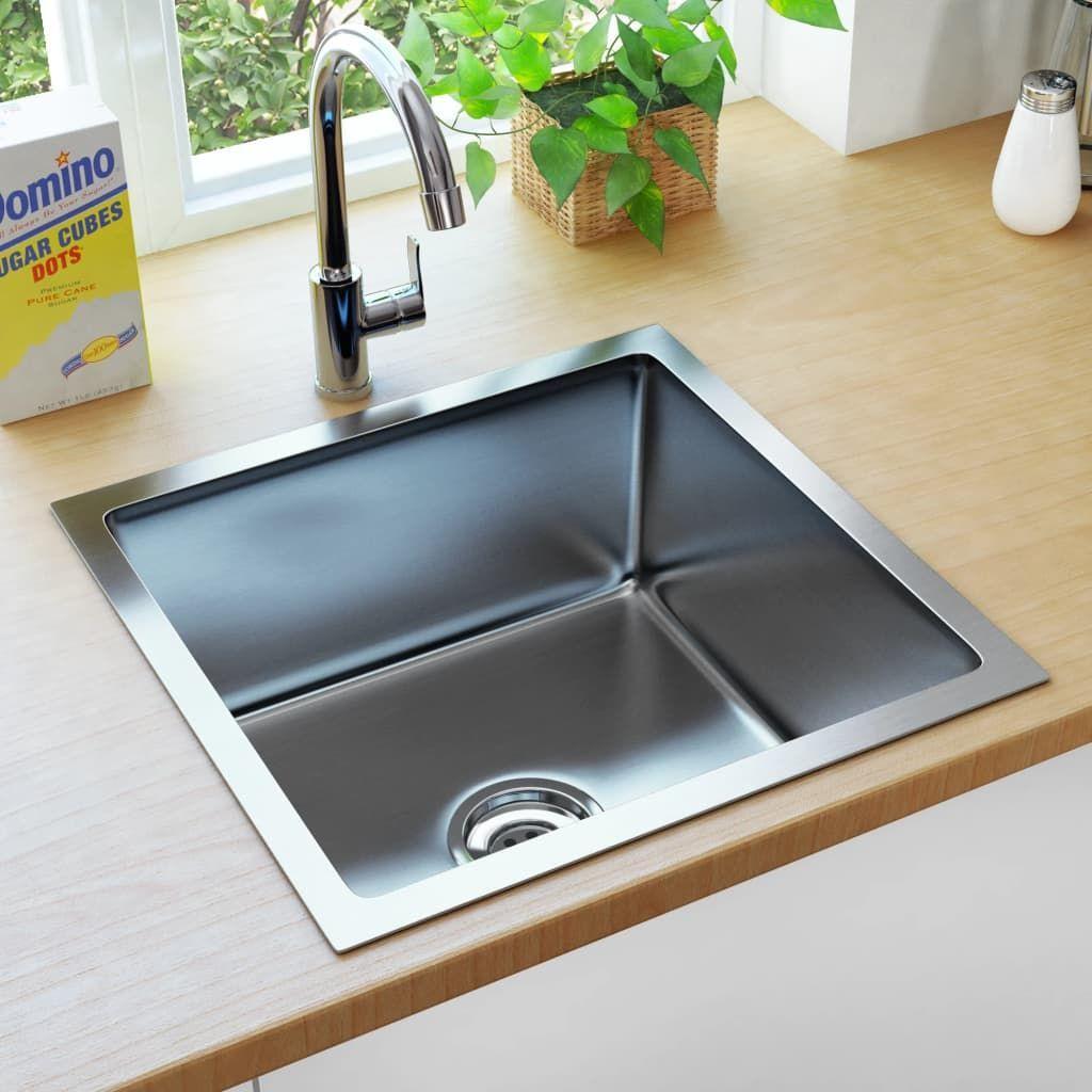 vidaXL Ręcznie robiony zlew kuchenny z sitkiem, stal nierdzewna 1