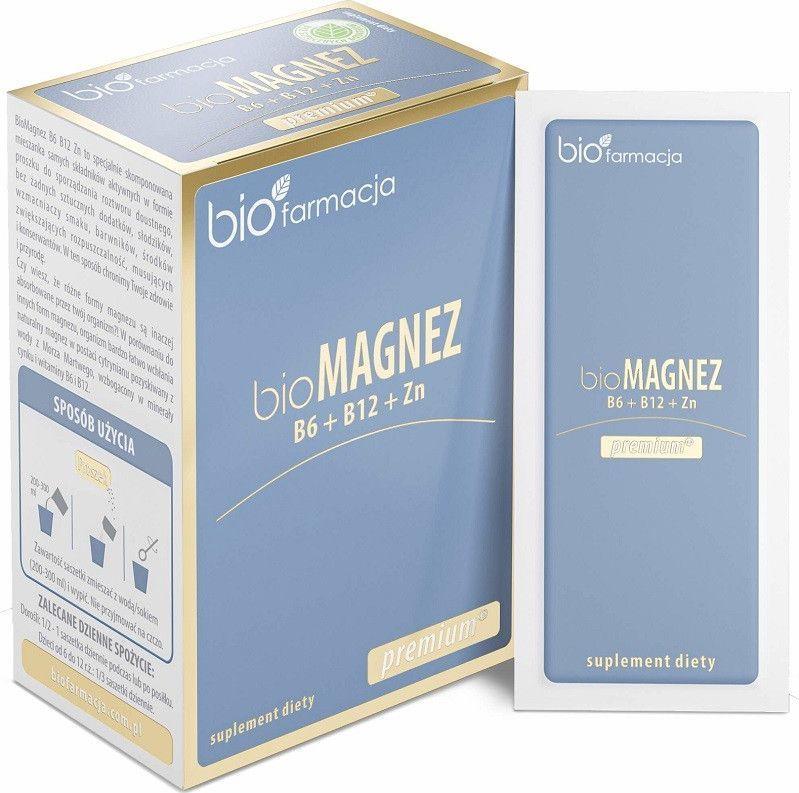 Biofarmacja Bio Magnez Premium Z B6 B12 Oraz Cynkiem 20 Saszetek Biofarmacja Cytrynian Magnezu Z Morza Martwego, Cytrynian Cynku 1