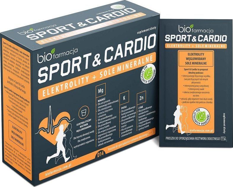 Biofarmacja Sport Cardio Elektrolity Sole Mineralne Węglowodany 14 Saszetek Biofarmacja Magnez Potas Cynk 1