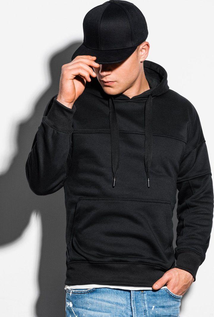 Ombre Bluza męska z kapturem B1078 - czarna XXL 1