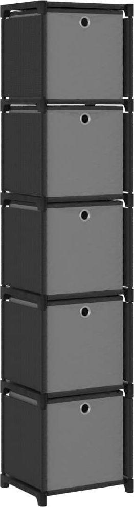 vidaXL Regał z 5 przegrodami, pudełka, czarny, 103x30x72,5 cm, tkanina 1