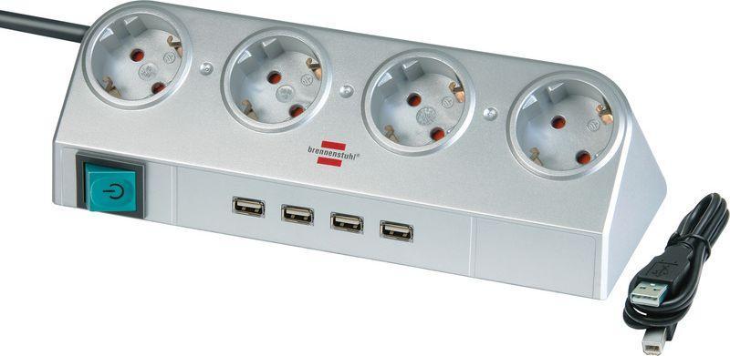 Listwa zasilająca Brennenstuhl Desktop-Power zwykła 4 gniazd 1.8m 4xUSB srebrny (1153540134) 1