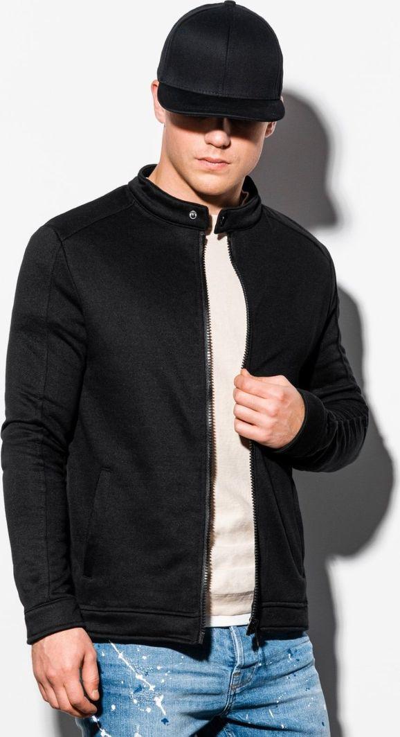Ombre Bluza męska rozpinana bez kaptura B1071 - czarna XL 1