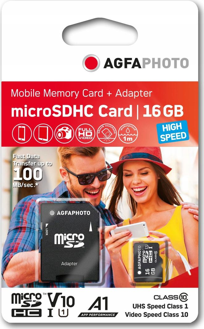 Karta AgfaPhoto SDHC MicroSDHC 16 GB Class 10 UHS-I/U1 A1 V10 (SB6030) 1