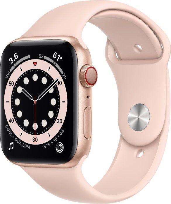Smartwatch Apple Watch Series 6 GPS + Cellular 44mm Gold Alu Rose Sport Różowy  (MG2D3FD/A) 1