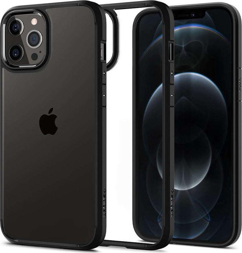 Spigen Etui Spigen Ultra Hybrid do Apple iPhone 12/ 12 Pro 6.1 Matte Black + Szkło Alogy uniwersalny 1