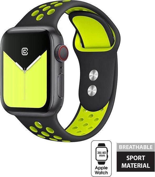 Crong Crong Duo Sport Band - Pasek Apple Watch 38/40 mm (czarny/limonkowy) uniwersalny 1