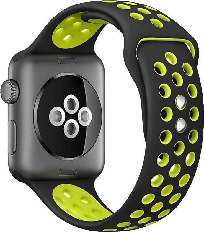 Crong Crong Duo Sport Band - Pasek Apple Watch 42/44 mm (czarny/limonkowy) uniwersalny 1