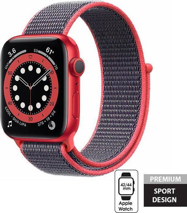 Crong Crong Nylon Band - Pasek sportowy Apple Watch 42/44 mm (Electric Pink) uniwersalny 1