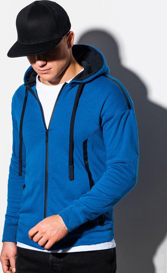 Ombre Bluza męska rozpinana z kapturem B1076 - niebieska S 1