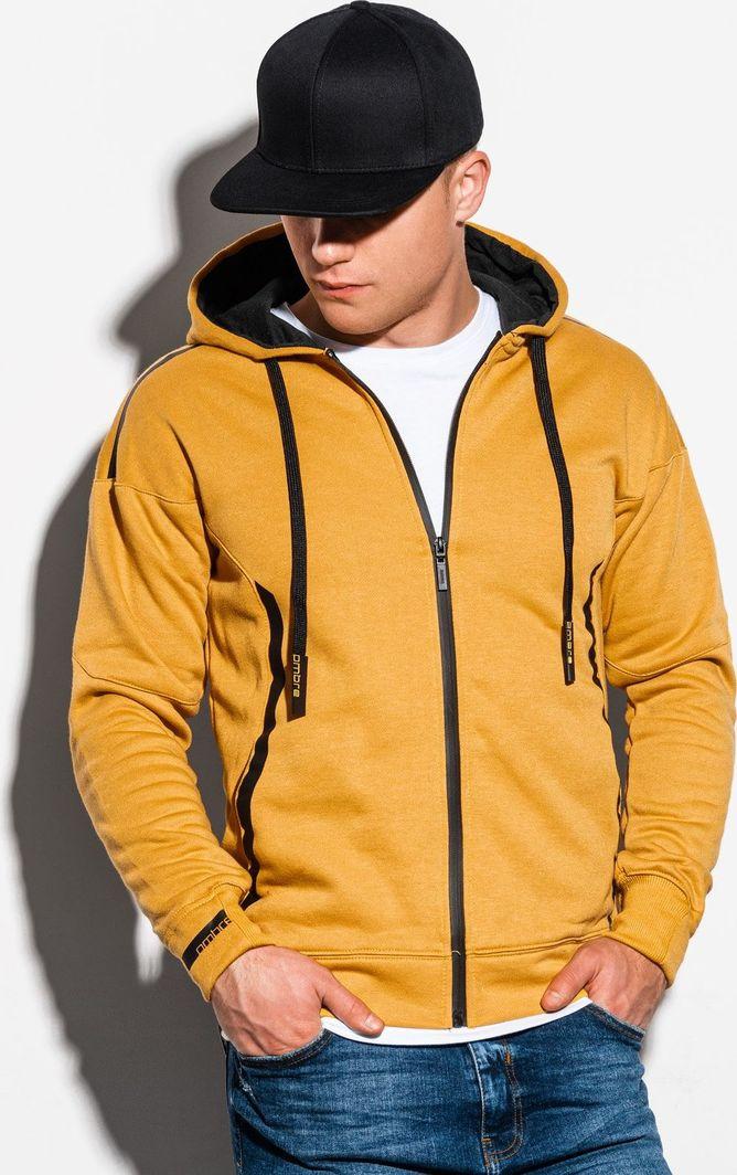 Ombre Bluza męska rozpinana z kapturem B1076 - żółta L 1