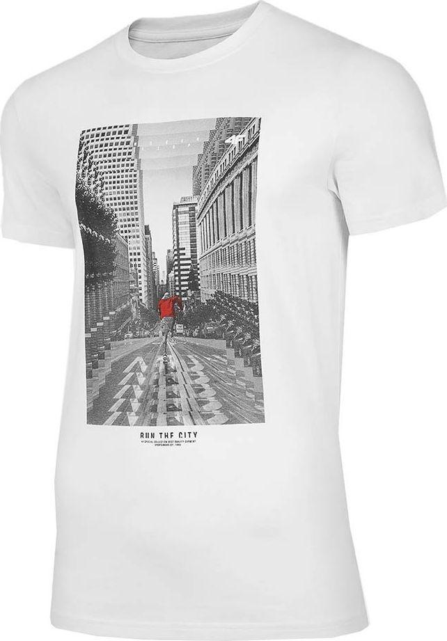 4f Koszulka męska 4F biała H4Z20 TSM020 10S : Rozmiar - M 1