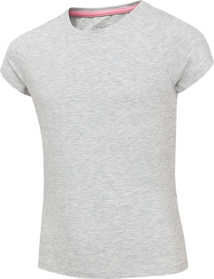 4f Koszulka dla dziewczynki 4F szary melanż HJZ20 JTSD001 25M : Rozmiar - 122cm 1