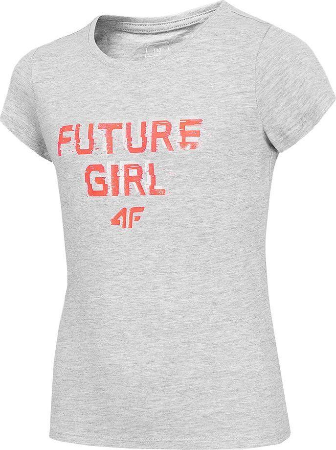 4f Koszulka dla dziewczynki 4F szary melanż HJZ20 JTSD007 25M : Rozmiar - 122cm 1