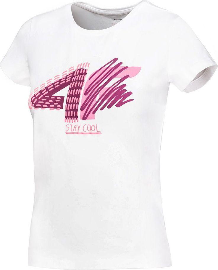 4f Koszulka dla dziewczynki 4F biała HJZ20 JTSD003 10S : Rozmiar - 134cm 1