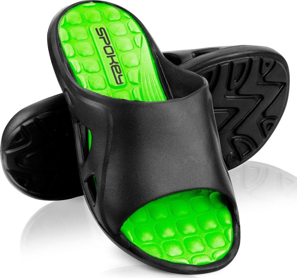 Spokey Klapki basenowe męskie LIDO czarno-zielone Spokey Rozmiar 45 1