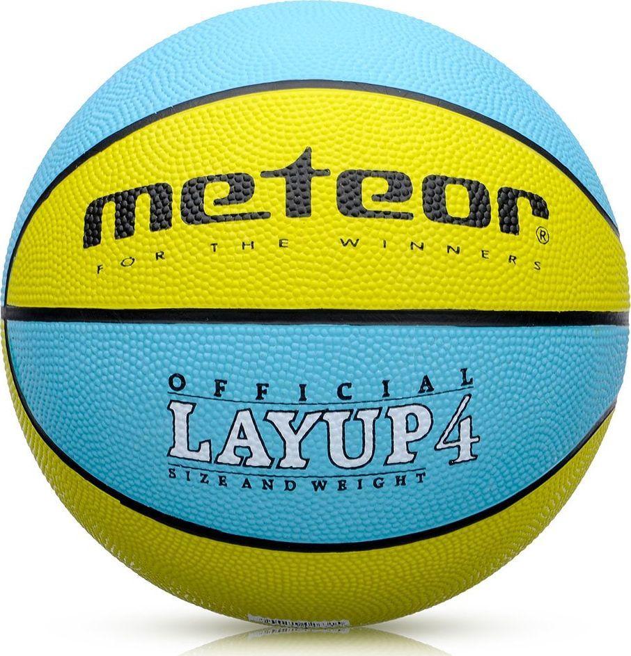 Meteor Piłka koszowa LAYUP #4 żółto-turkusowa Meteor 1