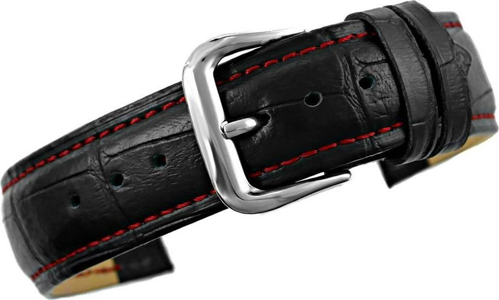 Kemer Pasek do zegarka - Skóra 20 mm 20K1 Czarno-Czerwony uniwersalny 1