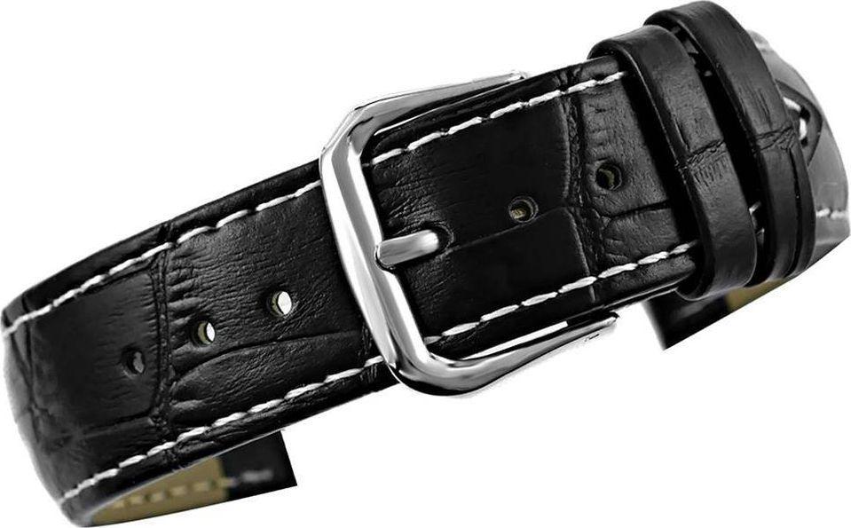 Kemer Pasek do zegarka - Skóra 20 mm 20K3 Czarno-Biały uniwersalny 1
