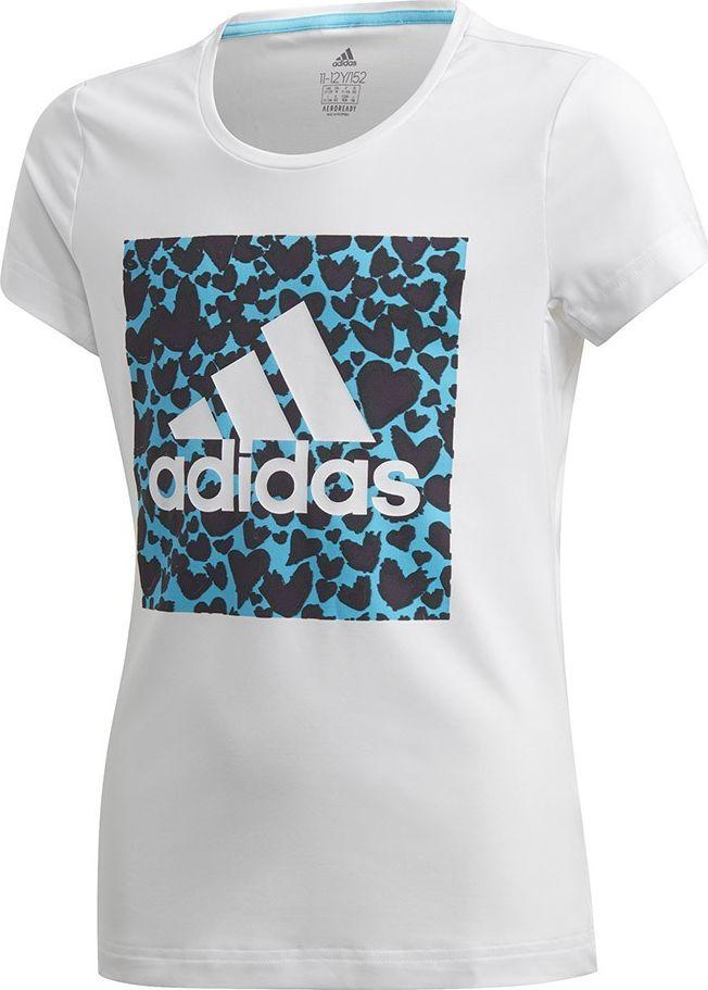 Adidas Koszulka dla dzieci adidas G a.r. Gfx Tee biało-niebieska GE0500 : Rozmiar - 152cm 1