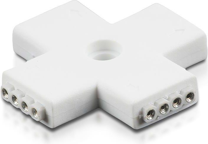 Whitenergy Złączka do taśm LED krzyżyk RGB czterostronna 4x 4pin żeński 1 sztuka (09803) 1
