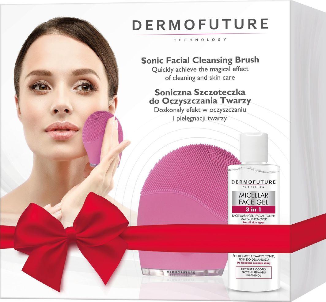 Dermofuture Technology Zestaw szczoteczka soniczna różowa+żel 3w1 150ml 1