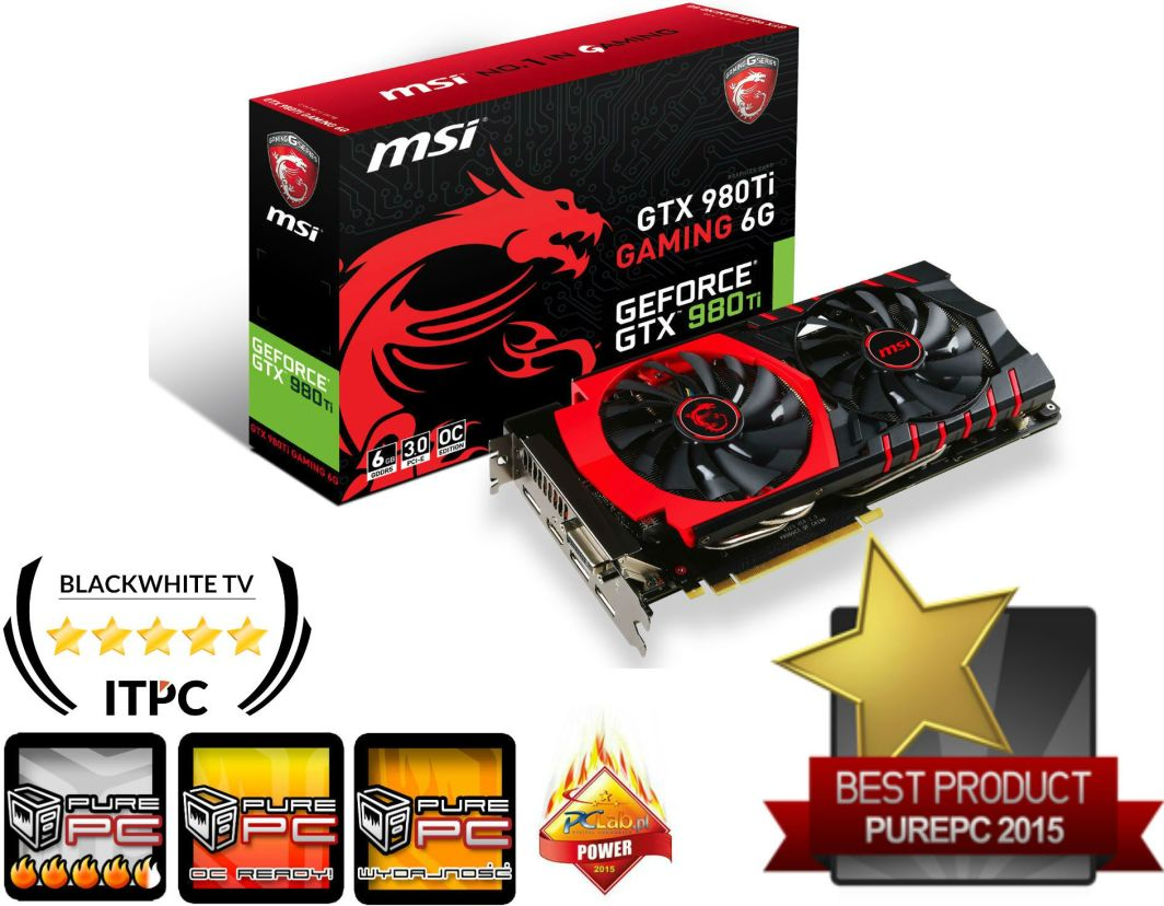 Karta graficzna MSI GeForce GTX 980Ti 6GB GDDR5 (384 bit) DVI, HDMI, 3x DP BOX (GTX 980Ti GAMING 6G) 1