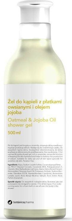 Botanica BOTANICAPHARMA_Oatmeal Jajoba Oil Shower Gel żel do kąpieli Płatki Owsiane i Olej Jajoba 500ml 1