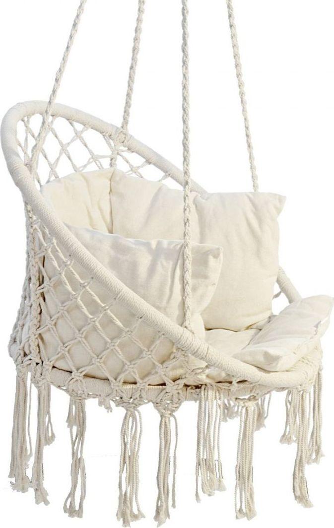 Saska Garden Hamak ażurowy fotel wiszący 80x60cm luxe z poduszką ecru 1