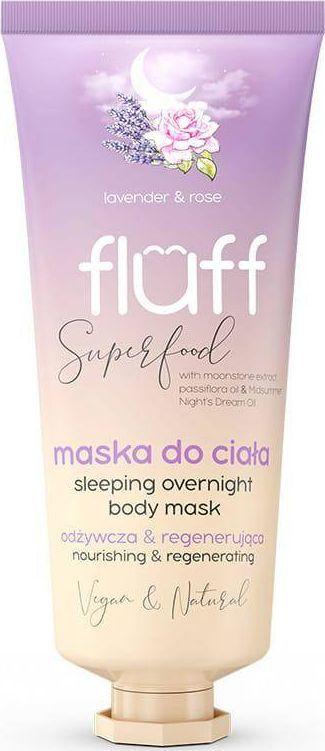 Fluff Super Food Sleeping Overnight Body Mask odżywczo-regenerująca maska do ciała Lawenda i Róża 150ml 1
